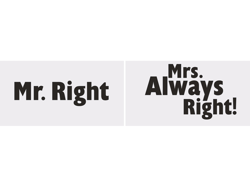 Vtipné tabuľky Mr. Right/Mrs. Always Right