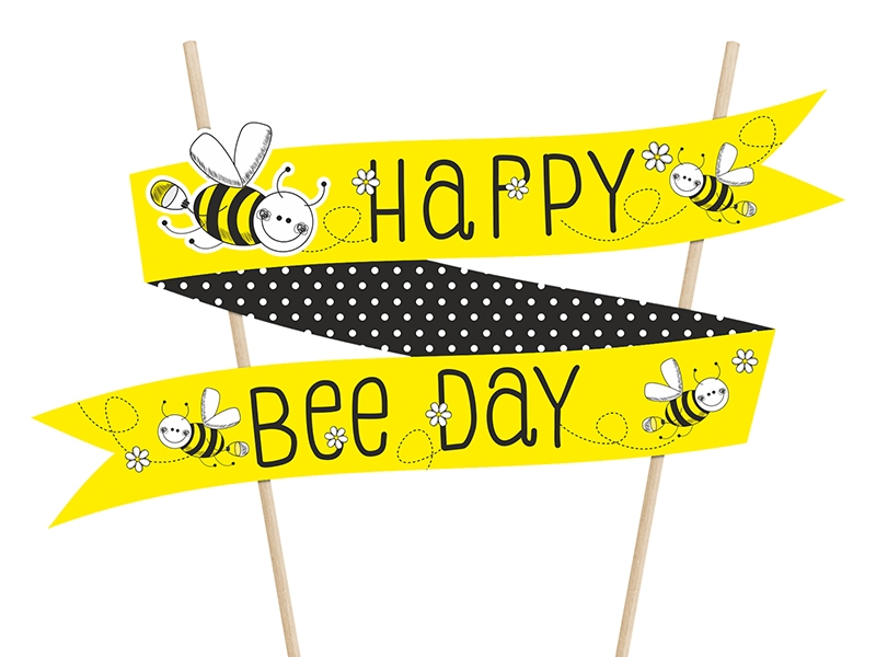 Top na tortu Happy Bee Day žltý